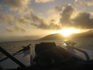 [In transit to Hinchinbrook Island on a small charter ferry from Port Hinchinbrook, QLD in the early morning of 8 July, 2013; photo courtesy of: Chelsea Pasch]