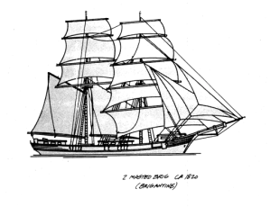 Although not an 1865 Brigantine, this is what Belle may have looked like in full sail (Wolf 2009:1).