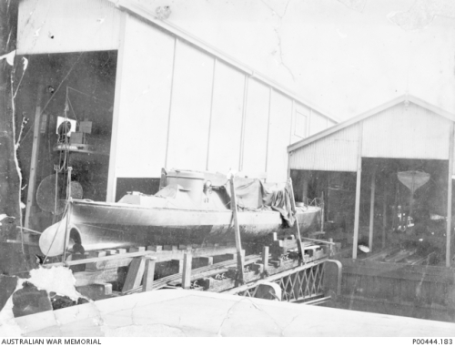 HMVS Lonsdale on Williamstown slipway pre 1915. Image courtesy Australian War Memorial.