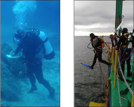 Figure 2. Left, A maritime archaeologist using SCUBA; Right, SSBA diver entering the water. Notice attached air hose (Images courtesy of Donald A. Frey, Tufan Turanli, and Maddy Fowler)