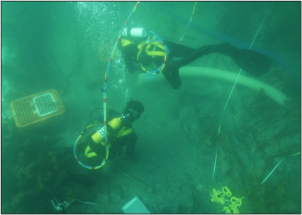Figure 4. ADAS Part 2 divers excavating with a dredge (Image courtesy of Andy Viduka).