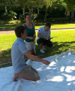 Figure 3: Green Team practicing baseline/offset and trilateration measurements