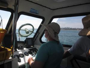 Figure 5: Maryanne Williams in control of Trim during the side scan sonar survey. Photograph by Rob Koch.