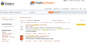 Figure 2. Flinders University search engine for locating sources within the library or within accessible publishers websites.