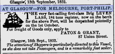 Figure 2. A Glasgow Herald newspaper article from 1852 calling for cargo applications for Leven Lass' voyage to Melbourne (Glasgow Herald 17 September 1852:8).