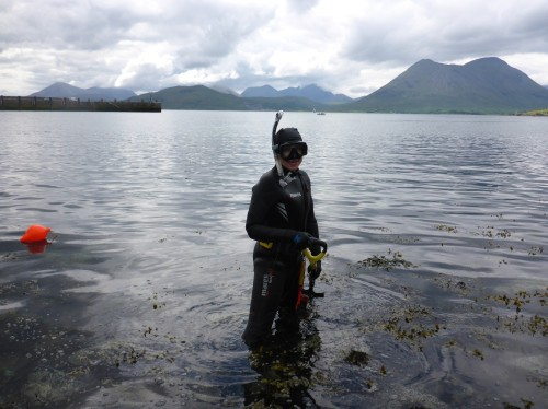 Figure 17. Snorkel survey of Clachan Harbour, Raasay for Mesolithic occupation by SAMPHIRE volunteer Chelsea Colwell-Pasch (Photo by: Jonathan Benjamin).
