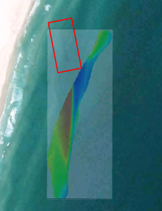 Image 6: The darkened shape (marked by the red box) later identified from aerial imagery very near the magnetometer signal.