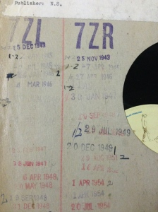 LP Record with lending stamps, Willow Court