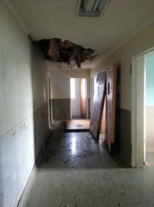 Roof kicked in by vandals in Ward C (Carlton).